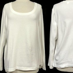 CHICO'S White Long Sleeve Cotton Pullover Tee
